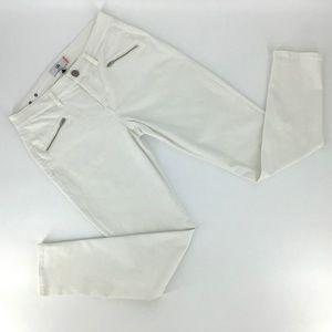 Cabi White Curvy Zip Skinny Jeans, #5317, Size 8